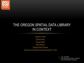 The Oregon Spatial Data  Library in Context