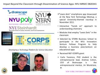 Impact Beyond the  Classroom through Dissemination of Science Apps:  NYU MRSEC 0820341
