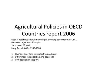 Agricultural Policies in OECD Countries report 2006