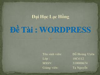 ??i H?c L?c H?ng ?? T�i : WORDPRESS