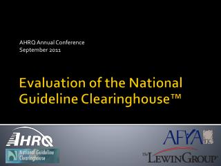Evaluation of the National Guideline Clearinghouse™