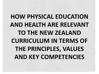Principles, Values and Key Competencies