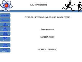 Instituto Integrado Carlos Julio  Umaña  Torres área: ciencias materia: física PROFESOR:  ARMANDO