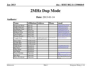 2MHz Dup Mode