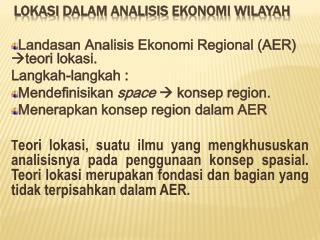 Lokasi dalam Analisis  Ekonomi Wilayah