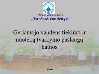 Geriamojo vandens tiekimo ir nuotekų tvarkymo paslaugų kainos