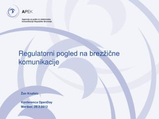 Regulatorni  pogled na brezžične komunikacije