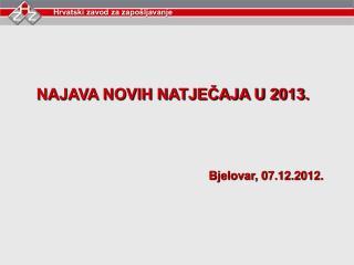 NAJAVA NOVIH NATJEČAJA U 2013.  Bjelovar, 07.12.2012.