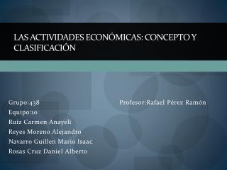 Las actividades económicas: concepto y clasificación
