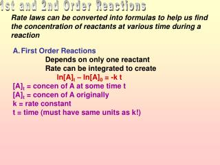 1st and 2nd Order Reactions
