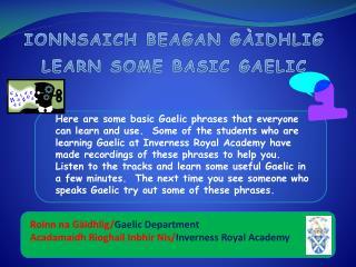 IONNSAICH BEAGAN GÀIDHLIG LEARN SOME BASIC GAELIC