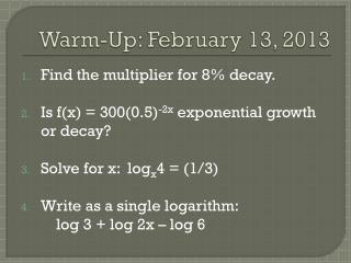 Warm-Up: February 13, 2013