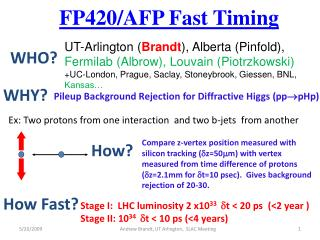 FP420/AFP Fast  Timing