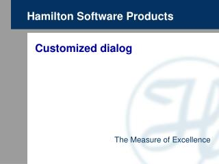 Hamilton Software Products