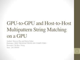 GPU-to-GPU and Host-to-Host Multipattern  String Matching on a GPU