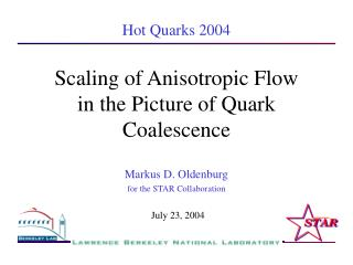 Scaling of Anisotropic Flow  in the Picture of Quark Coalescence