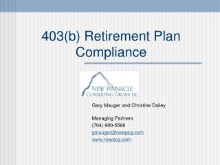 403(b) Retirement Plan Compliance