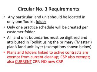 Circular No. 3 Requirements