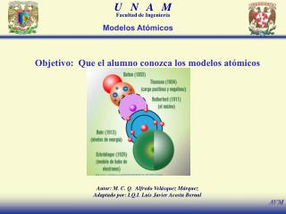 Objetivo:  Que el alumno conozca los modelos atómicos
