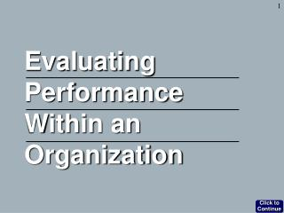 Evaluating Performance Within an Organization