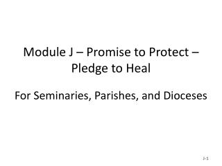 Module J – Promise to Protect – Pledge to Heal For Seminaries, Parishes, and Dioceses