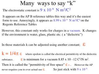 "Many  ways to say ""k"""