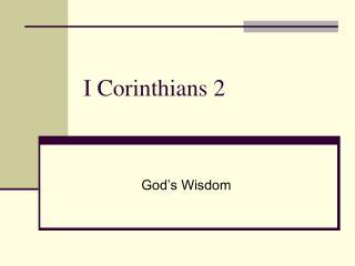I Corinthians 2