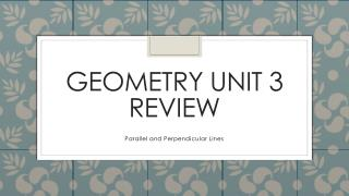 Geometry Unit 3 Review