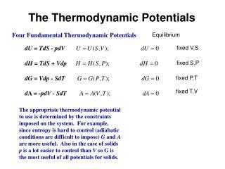 The Thermodynamic Potentials
