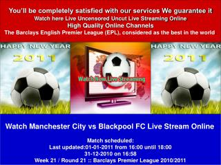 Manchester City vs Blackpool FC LIVE STREAN ONLINE TV SHOW