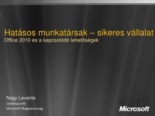 Hatásos munkatársak – sikeres vállalat Office 2010 és a kapcsolódó lehetőségek