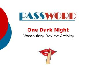 One Dark Night  Vocabulary Review Activity