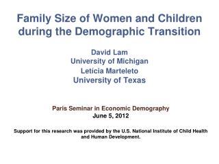 Paris  Seminar in Economic Demography  June 5, 2012