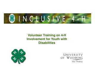 Volunteer Training on 4-H Involvement for Youth with Disabilities