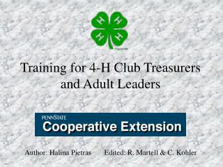 Training for 4-H Club Treasurers and Adult Leaders