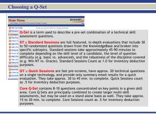 Choosing a Q-Set