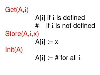 Get(A, i ) 			A[ i ] if  i  is defined 			#    if  i  is not defined Store(A, i ,x) 			A[ i ] := x