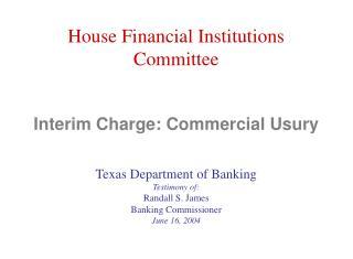 Interim Charge: Commercial Usury
