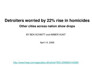 Detroiters worried by 22% rise in homicides