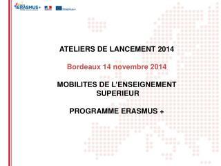 ATELIERS DE LANCEMENT 2014 Bordeaux 14 novembre 2014 MOBILITES DE L'ENSEIGNEMENT  SUPERIEUR