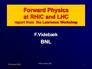 Forward Physics at RHIC and LHC report from  the Lawrence Workshop