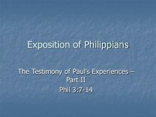 Exposition of Philippians