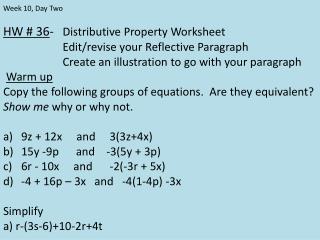 HW # 36 -    Distributive Property  Worksheet