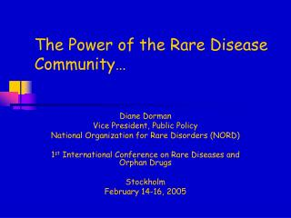 The Power of the Rare Disease Community