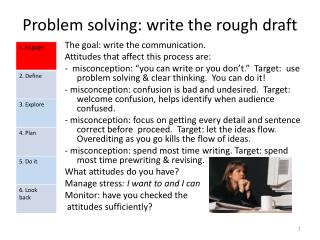 Problem solving: write the rough draft