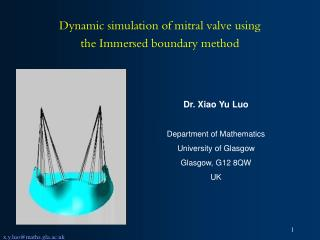 Dynamic simulation of mitral valve using  the Immersed boundary method