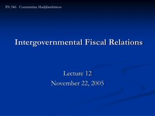 Intergovernmental Fiscal Relations