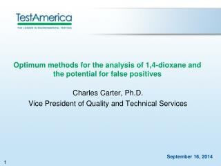 Optimum methods for the analysis of 1,4-dioxane and the potential for false positives