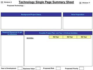 Technology Single Page Summary Sheet