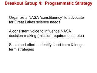 Breakout Group 4:  Programmatic Strategy